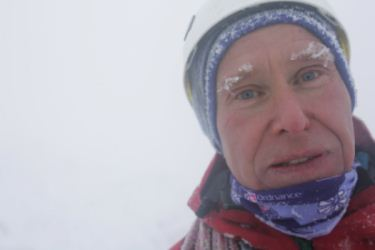 Alan Hinkes with ice on his eyebrows